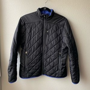 Land's End puffer jacket sz M 10 12 black zip up